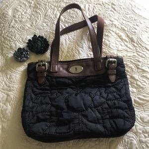 Black Quilted Fossil Keyper Purse